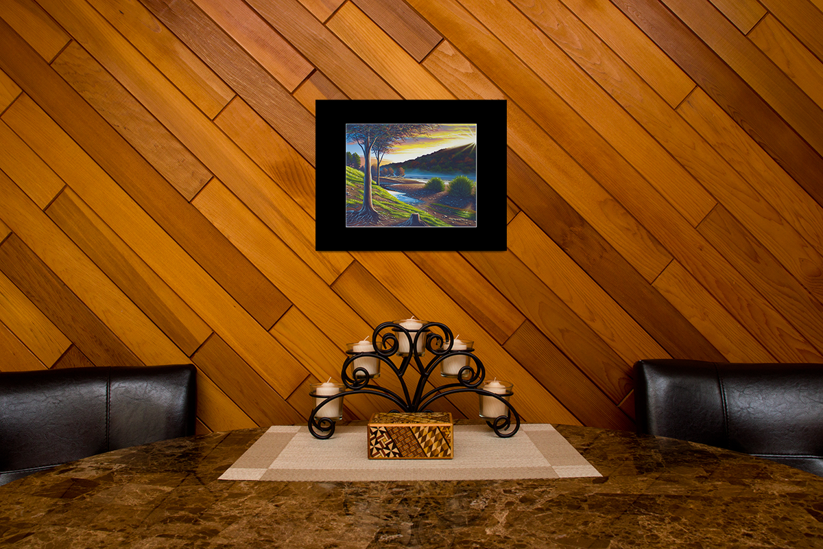 """Home decor scene with fine art matted print of Timothy Stanford's original acrylic painting """"Roots of the Delaware"""""""