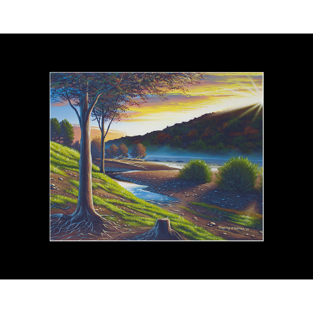 """Fine art matted print of Timothy Stanford's original acrylic painting """"Roots of the Delaware"""""""
