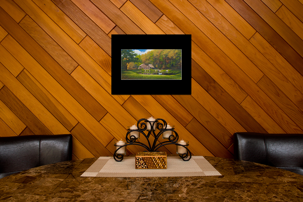 "Home decor scene with fine art matted print of Timothy Stanford's original acrylic painting ""Fall at Cuttaloosa Farm"""