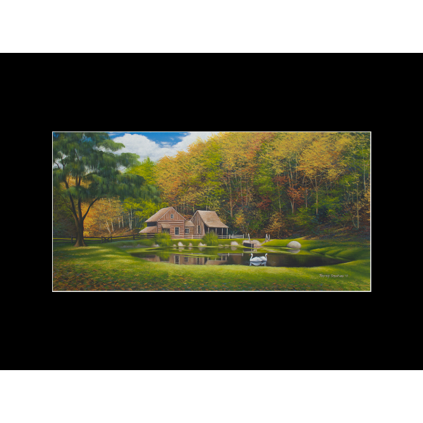 "Fine art matted print of Timothy Stanford's original acrylic painting ""Fall at Cuttaloosa Farm"""