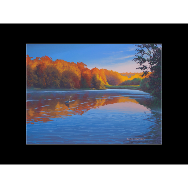 """Fine art matted print of Timothy Stanford's original acrylic painting """"Quiet Breakfast"""""""
