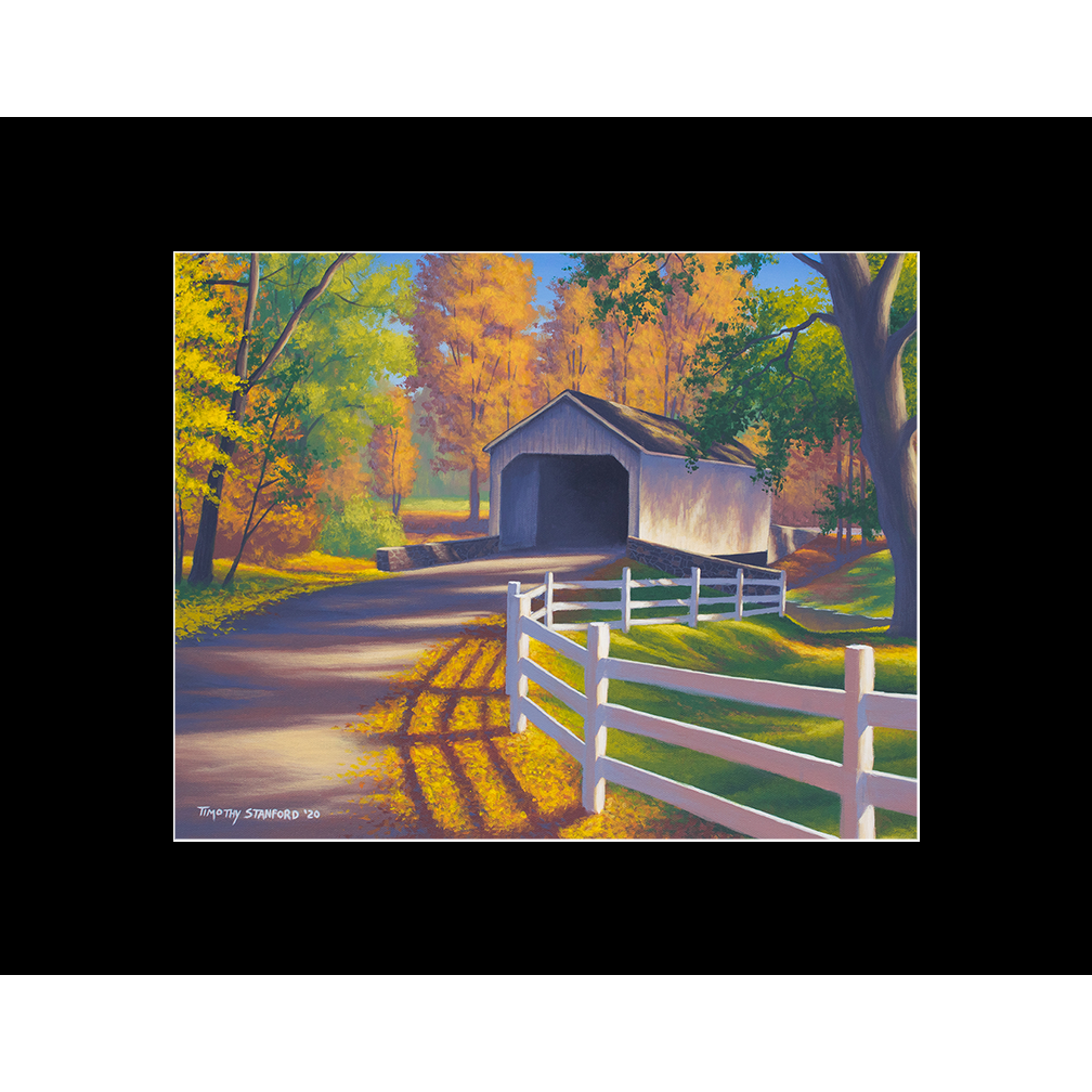 "Fine art matted print of Timothy Stanford's original acrylic painting ""Autumn Slumber"""