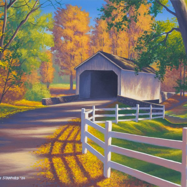 Acrylic landscape painting of Loux Covered Bridge during the fall.