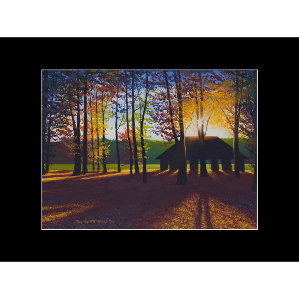 """Fine art matted print of Timothy Stanford's original acrylic painting """"Peaceful Pavilion"""""""