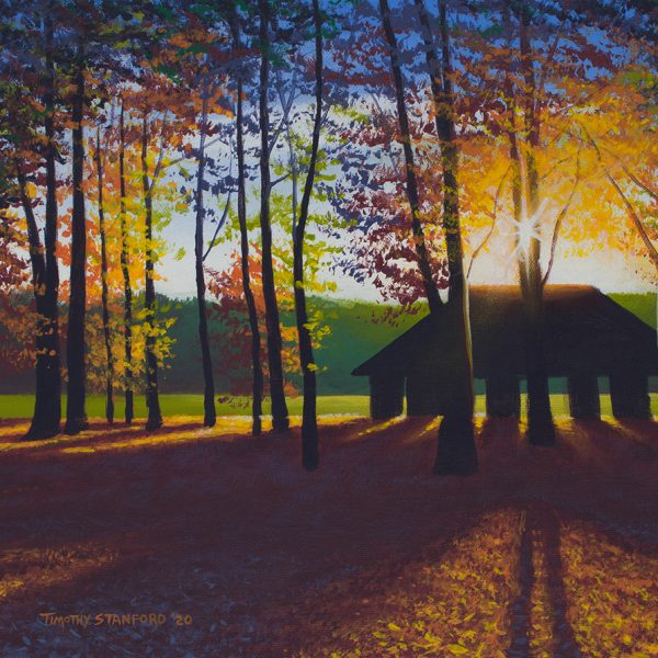 Acrylic landscape painting of a pavilion silhouetted against the morning sun in Washington Crossing Park during autumn.