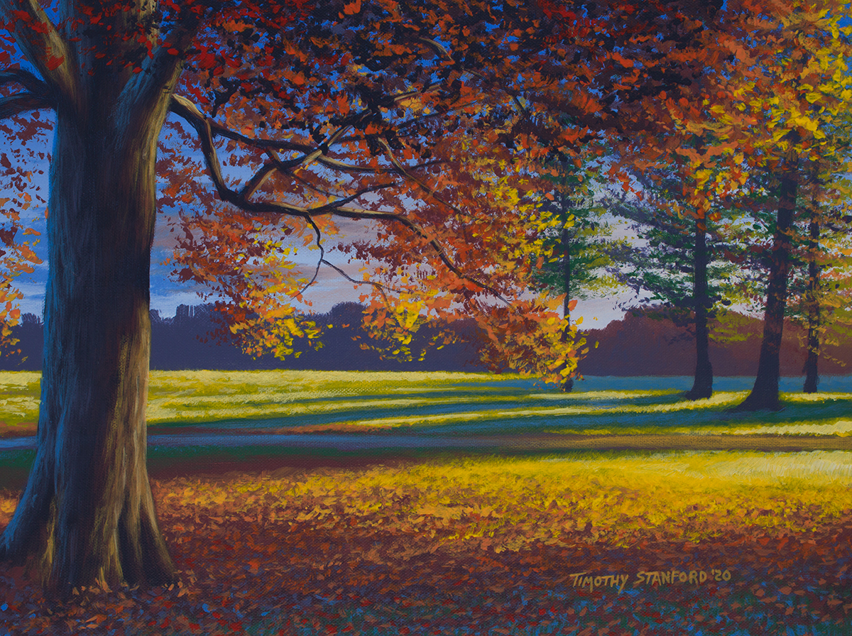 Acrylic landscape painting of an sunlit oak tree with orange trees in front of some green pine trees in Washington Crossing Park.