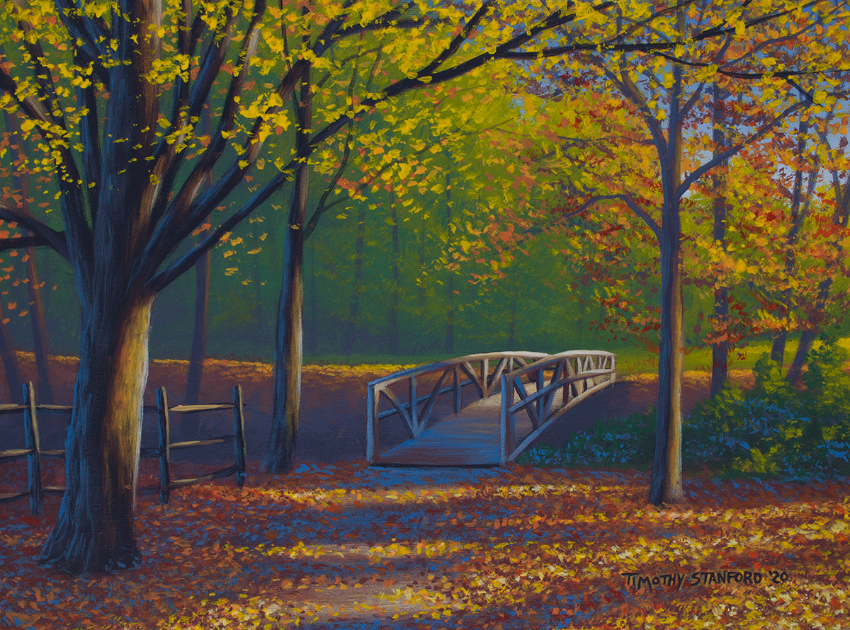 Acrylic landscape painting of a leaf-strewn path and bridge during fall in Lambertville, NJ.