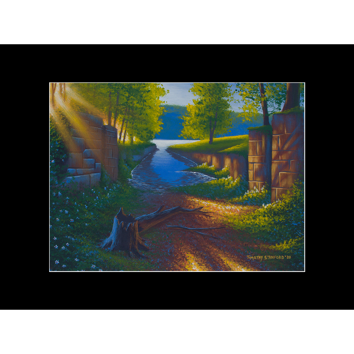 """Fine art matted print of Timothy Stanford's original acrylic painting """"Nature's Outlet"""""""