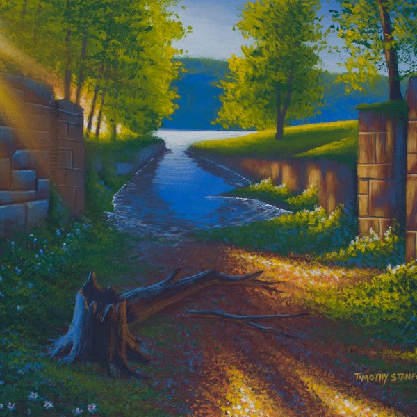 Acrylic landscape painting of the Lambertville Outlet Lock with the sun shining on the old walls.