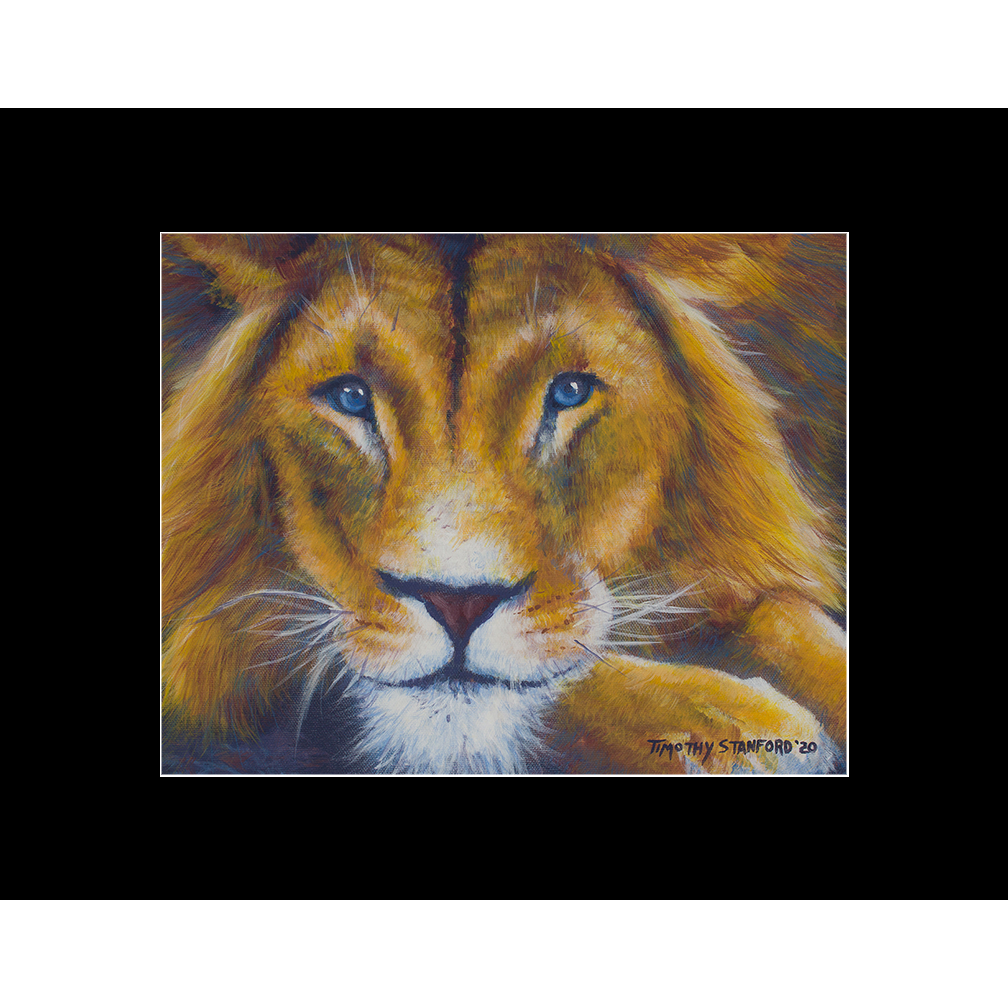 """Fine art matted print of Timothy Stanford's original acrylic painting """"Ol' Blue Eyes"""""""