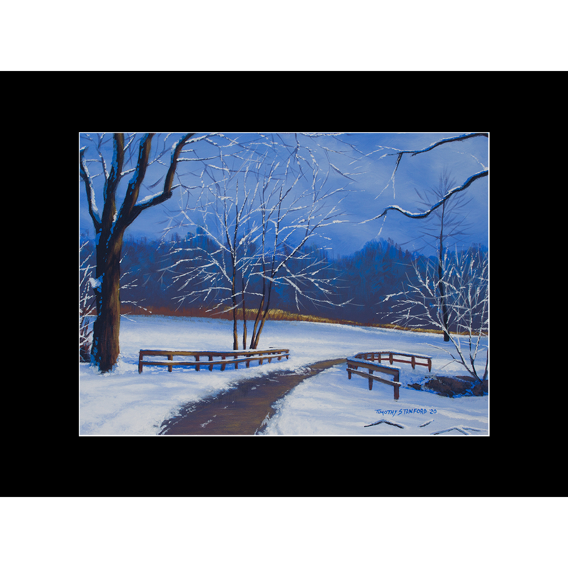 "Fine art matted print of Timothy Stanford's original acrylic painting ""Quiet Path"""