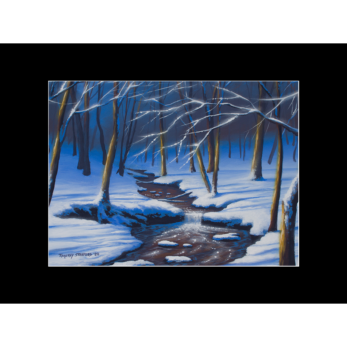 """Fine art matted print of Timothy Stanford's original acrylic painting """"Winter Wonders"""""""
