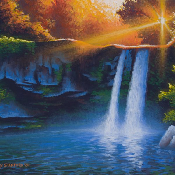 Acrylic landscape painting of an orange sunset over a waterfall with a blue pool.