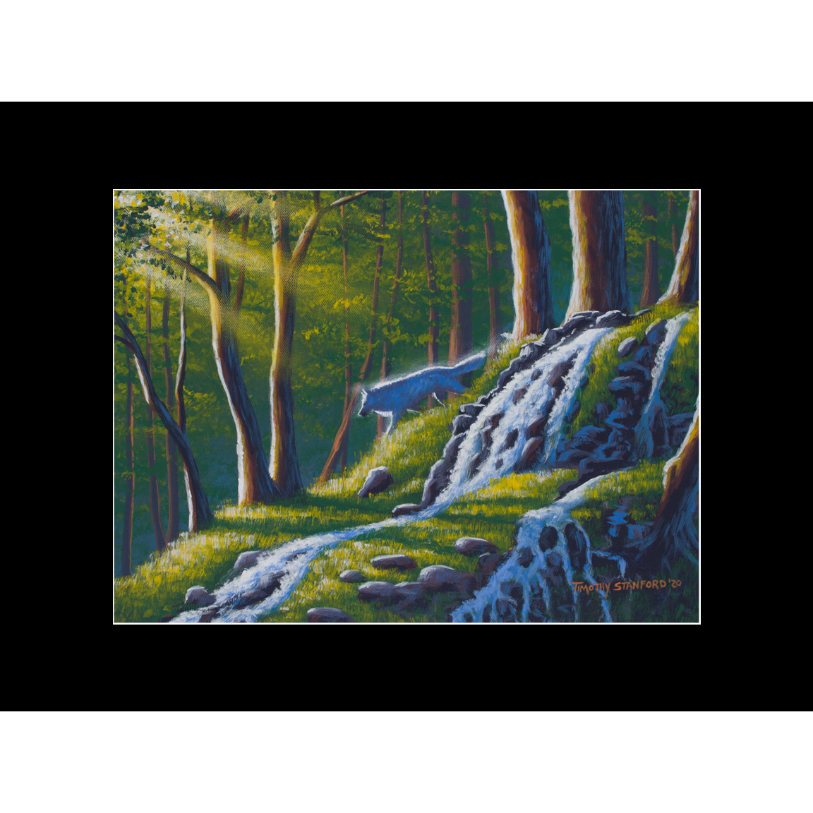 """Fine art matted print of Timothy Stanford's original acrylic painting """"Morning Rises"""""""