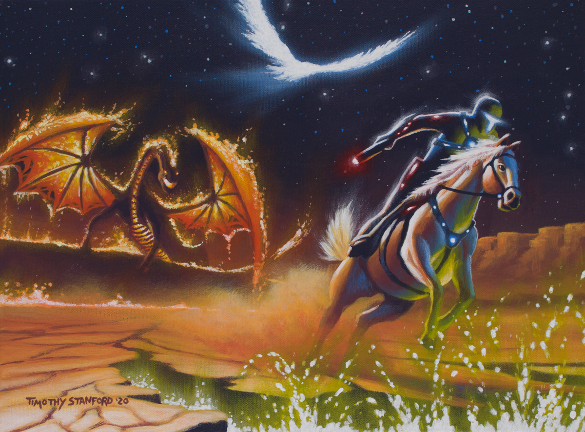 Acrylic fantasy painting of a space cowboy galloping a horse away from a dragon.