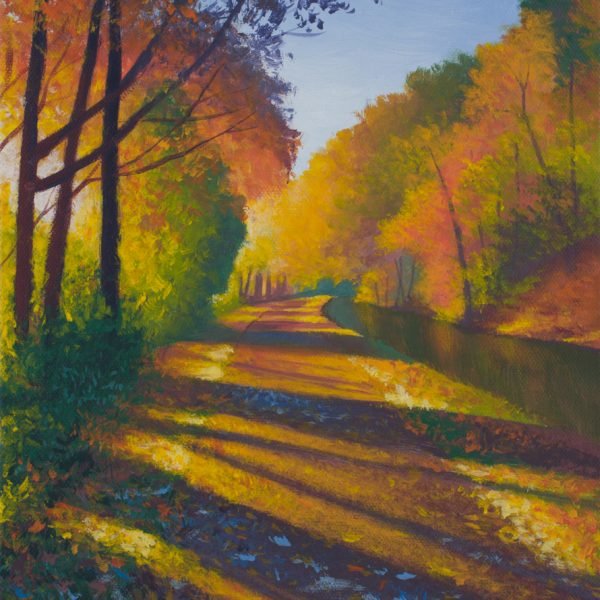 Acrylic landscape painting of the Washington Crossing towpath during a fall morning.