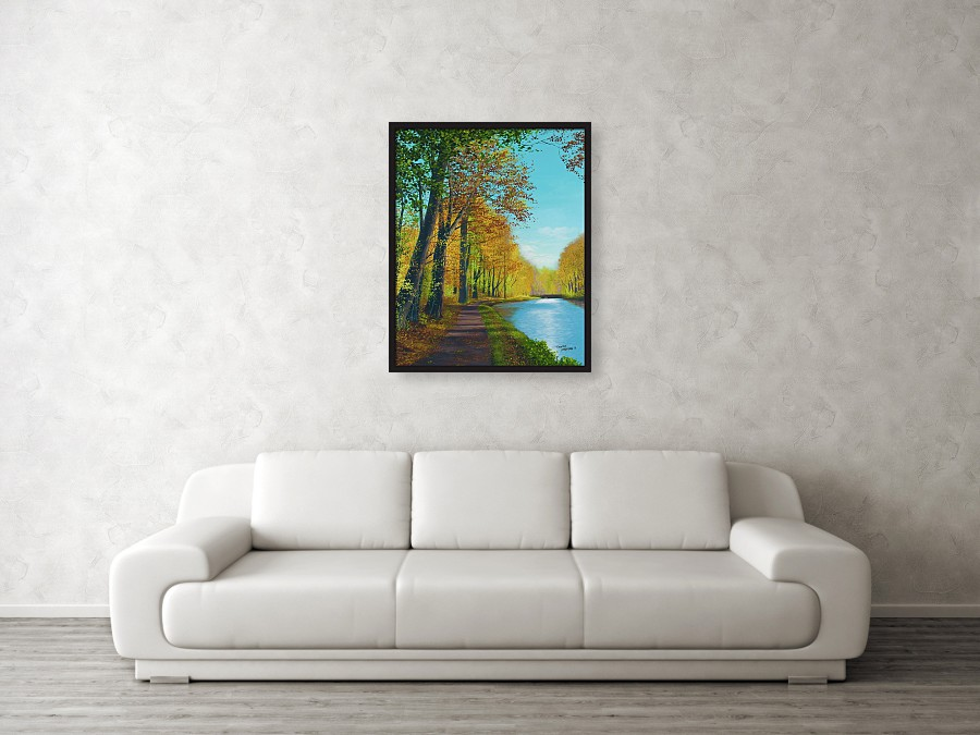 Acrylic landscape painting of a fall path.