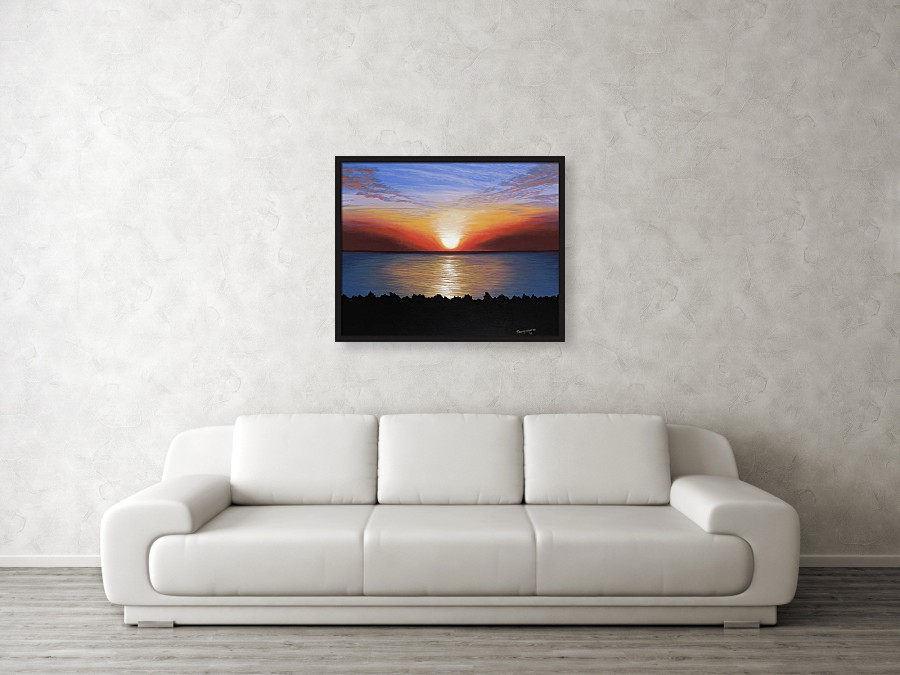 Acrylic landscape painting of a ocean sunset