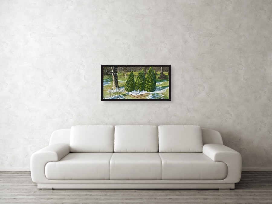 Acrylic landscape painting of evergreen trees