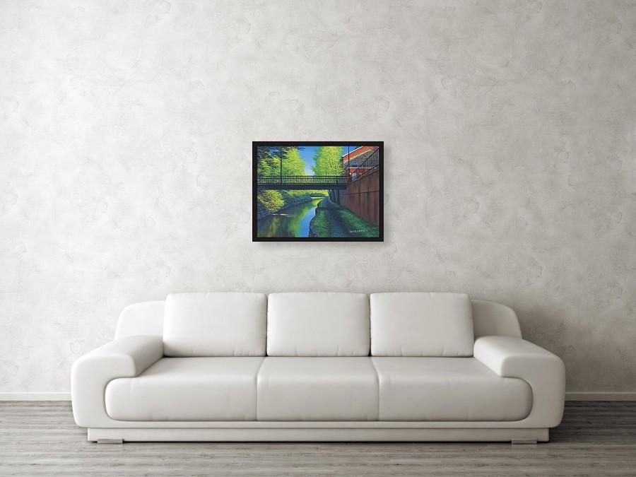 Acrylic landscape painting of a pedestrian bridge