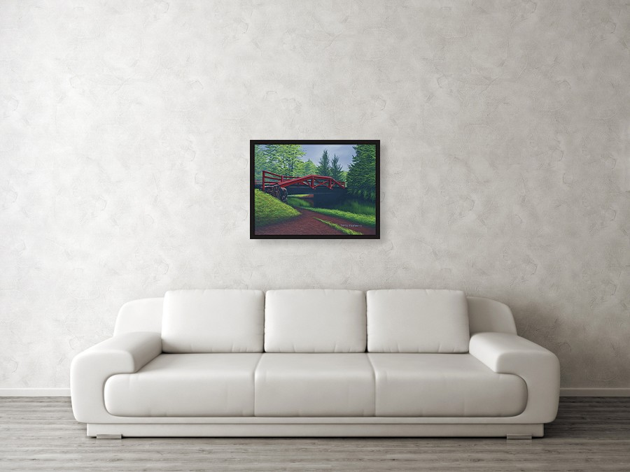Acrylic landscape painting of a red canal bridge