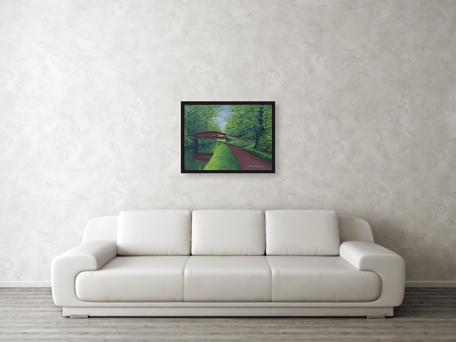 Acrylic landscape painting of a spring canal bridge