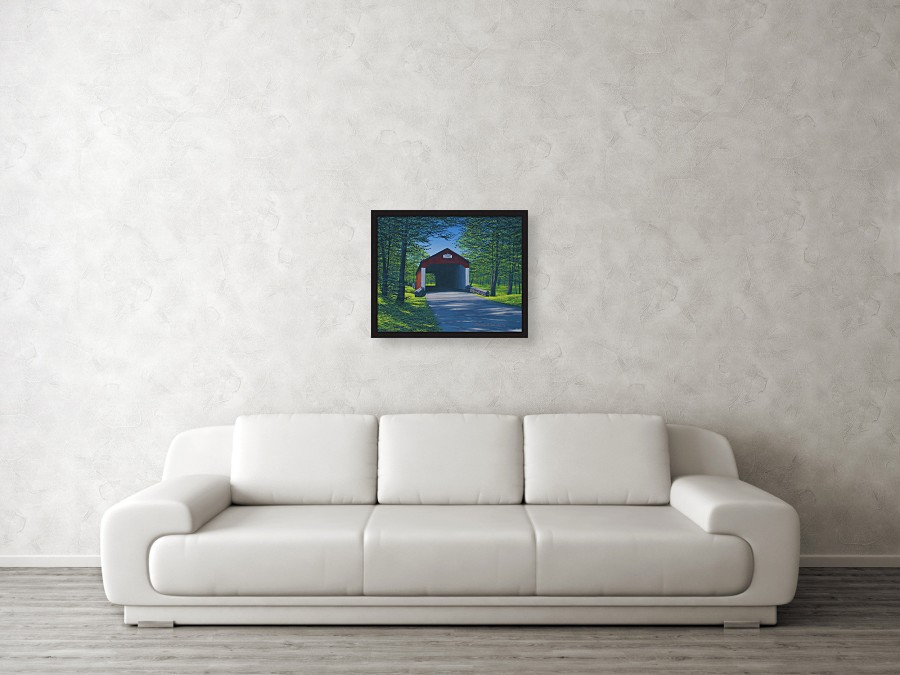 Acrylic landscape painting of a red covered bridge