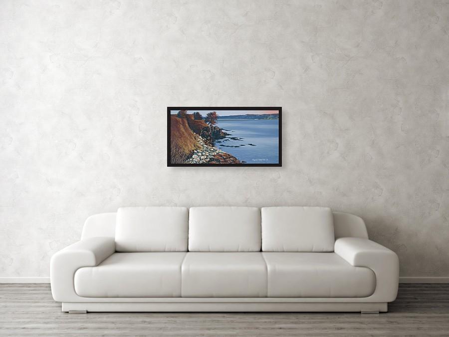 Acrylic seascape painting of a rocky coastline