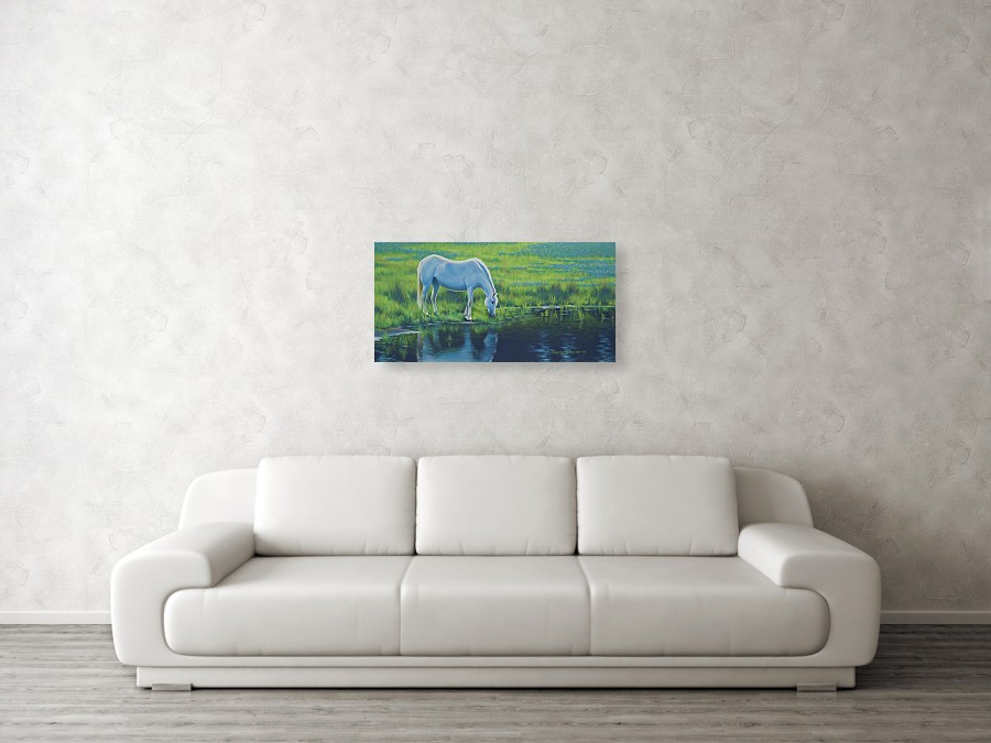 Acrylic wildlife painting of a white horse next to a pond