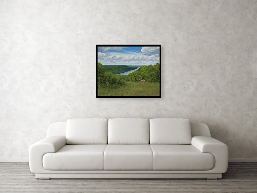 Acrylic landscape painting of a cloudy overlook