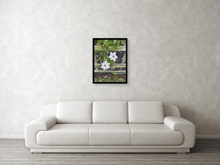 Acrylic flower painting of a white clematis
