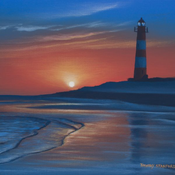 Acrylic landscape painting of a lighthouse on a quiet coastlline during a rosy sunrise.