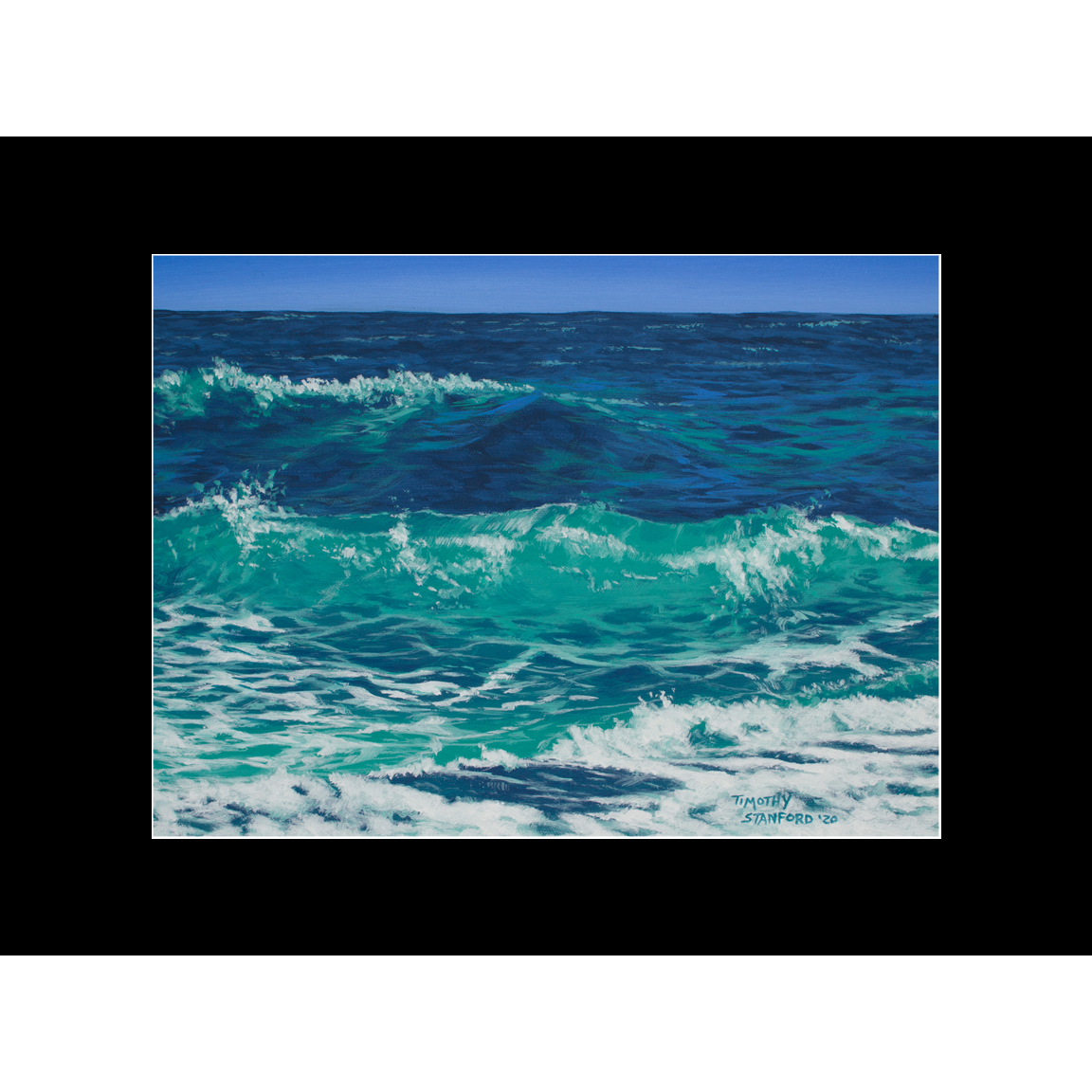 """Fine art matted print of Timothy Stanford's original acrylic painting """"Breakers"""""""