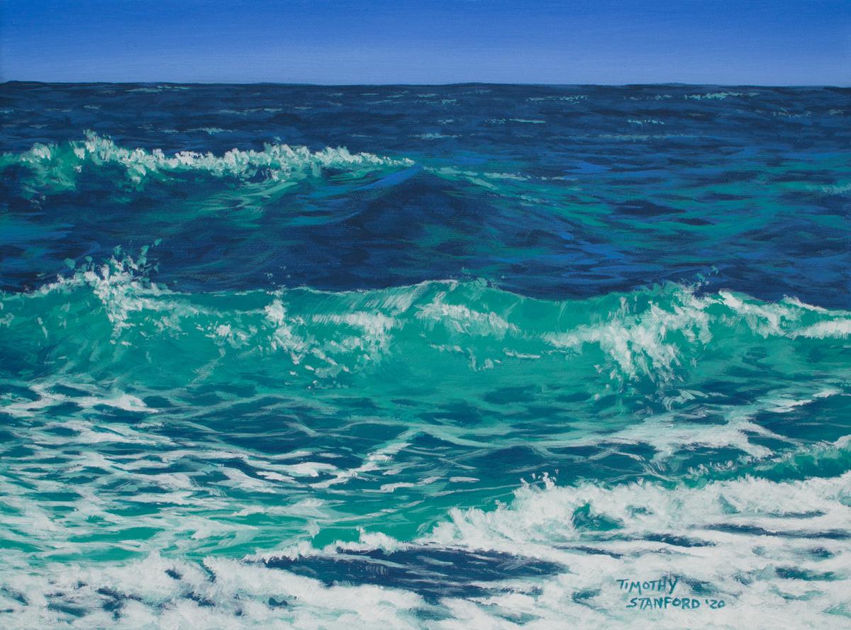 Acrylic landscape painting of foamy sea waves.