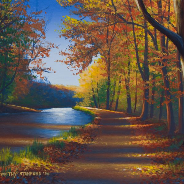 Acrylic landscape painting of the canal towpath at Thompson Neely house during autumn.