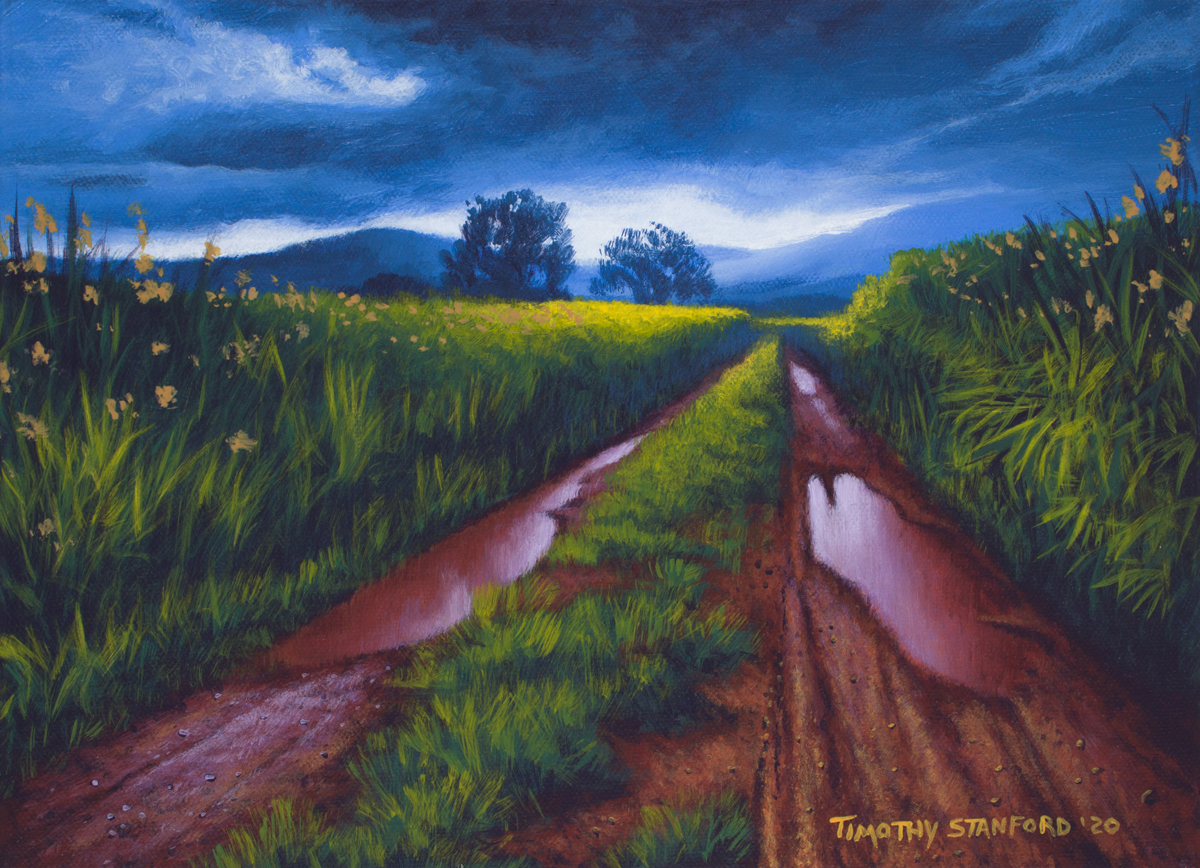 Acrylic landscape painting of a field with a muddy road after a storm.