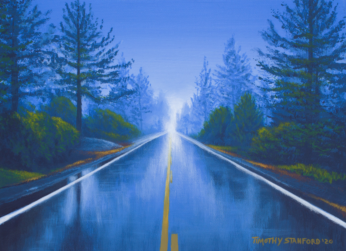 Acrylic landscape painting of a rainy highway