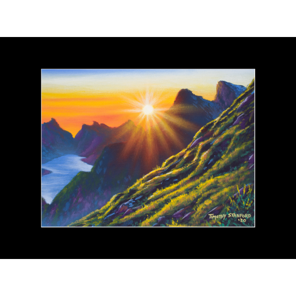 "Fine art matted print of Timothy Stanford's original acrylic painting ""Morning Heights"""