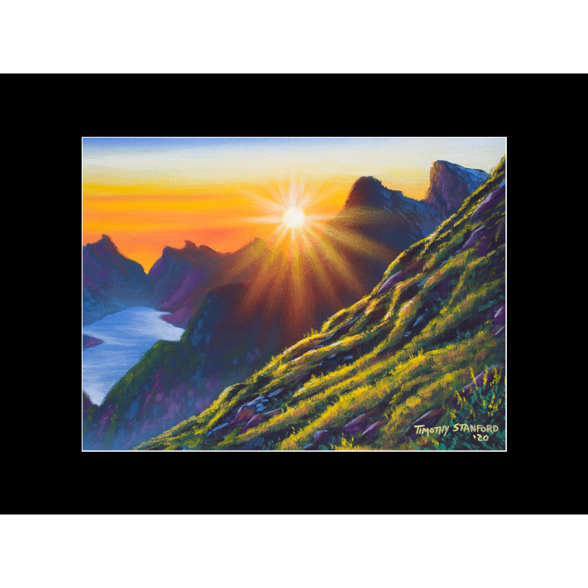 """Fine art matted print of Timothy Stanford's original acrylic painting """"Morning Heights"""""""