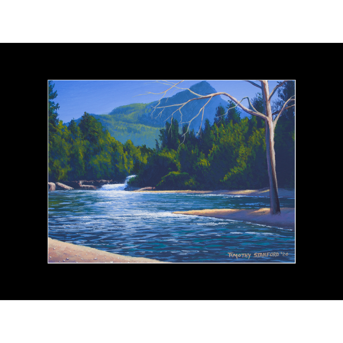 """Fine art matted print of Timothy Stanford's original acrylic painting """"A River View"""""""
