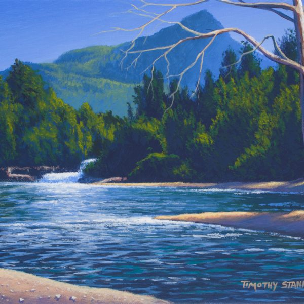 Acrylic landscape painting of a forested river below a mountain