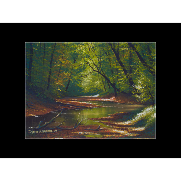 "Fine art matted print of Timothy Stanford's original acrylic painting ""Banks of Solace"""