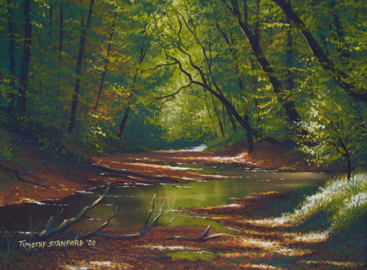 Acrylic landscape painting of a green forest creek