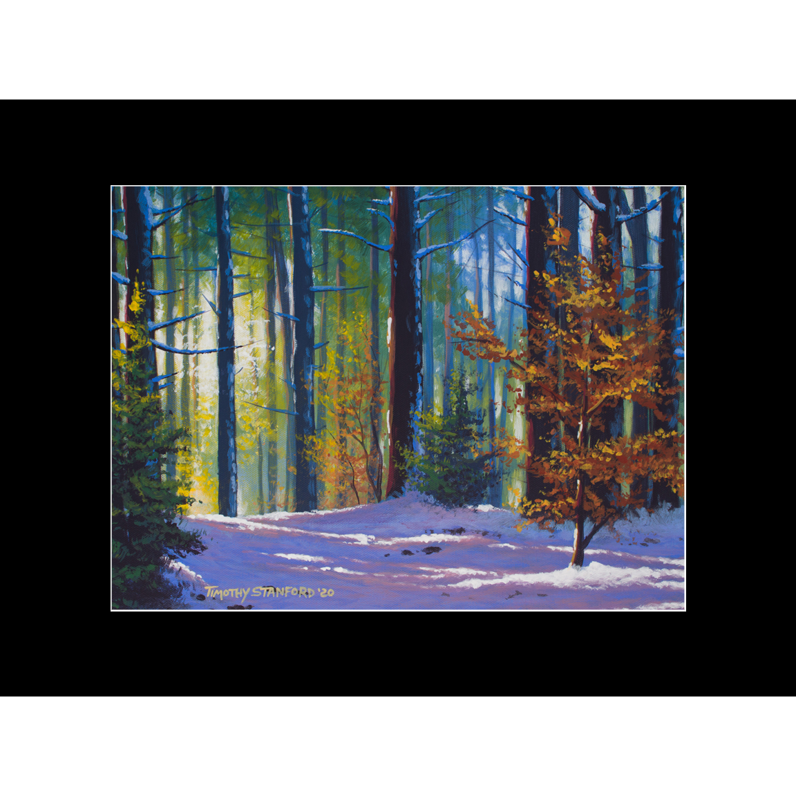 """Fine art matted print of Timothy Stanford's original acrylic painting """"Autumn Snow"""""""