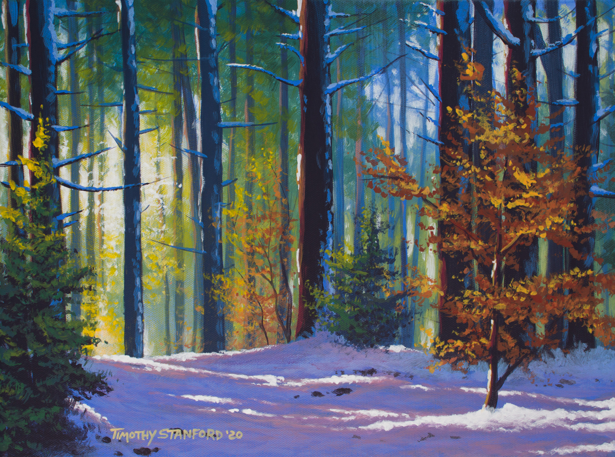 Acrylic landscape painting of a pine forest in autumn with fresh snow