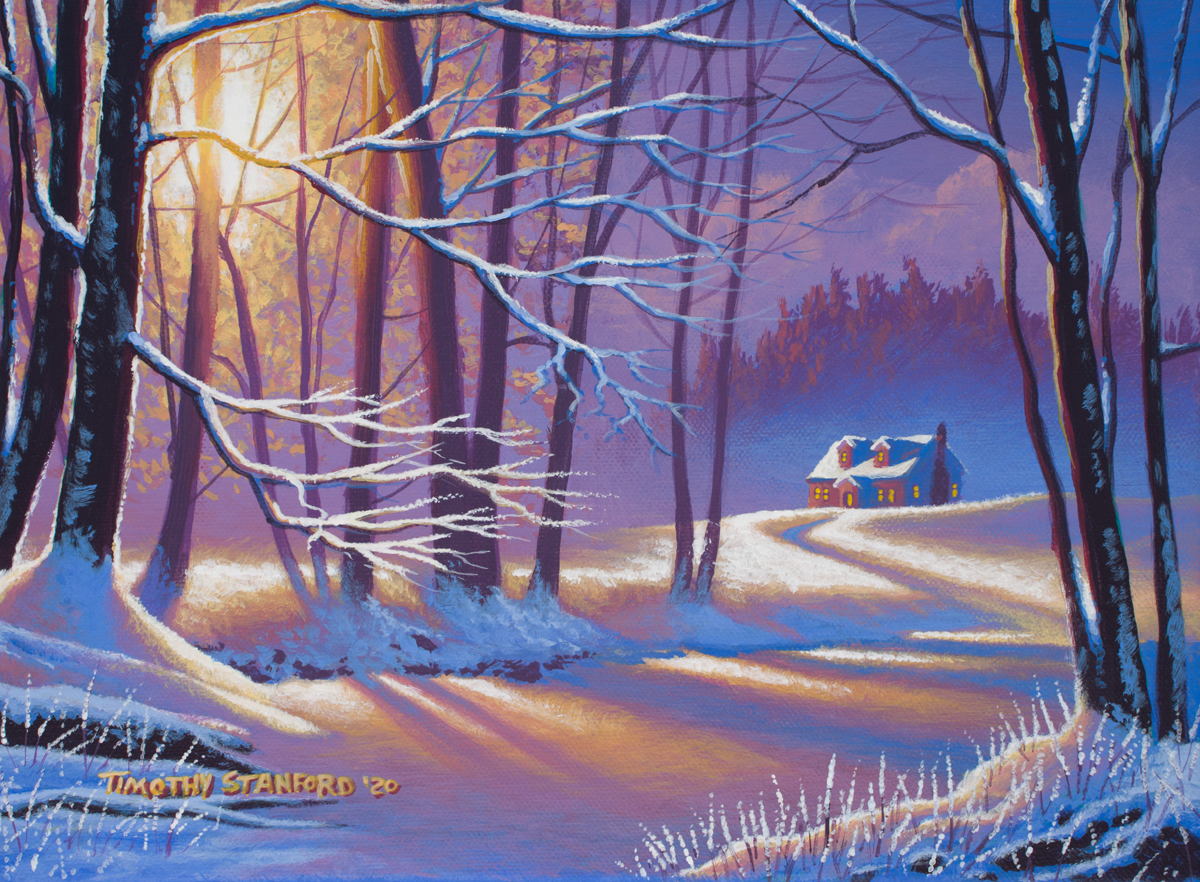 Acrylic landscape painting of a snowy winter road and christmas cottage