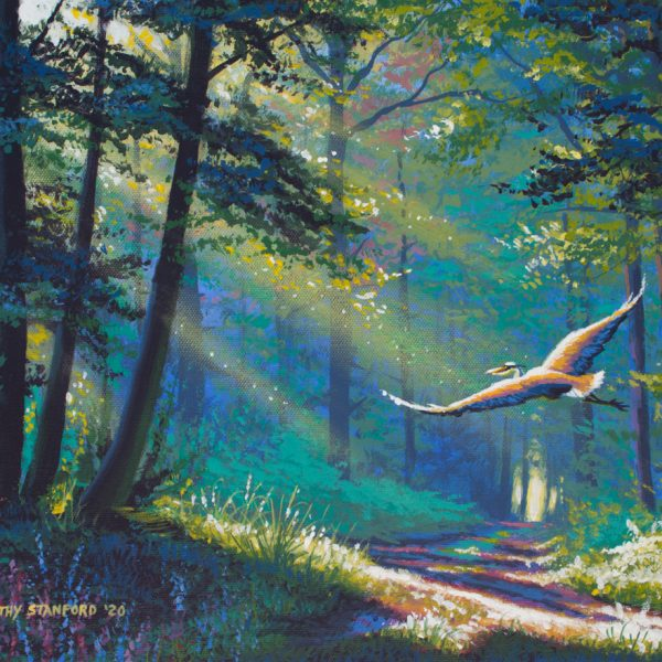 Acrylic landscape painting of a heron flying through a forest