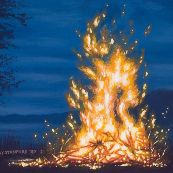 Acrylic landscape painting of a roaring bonfire