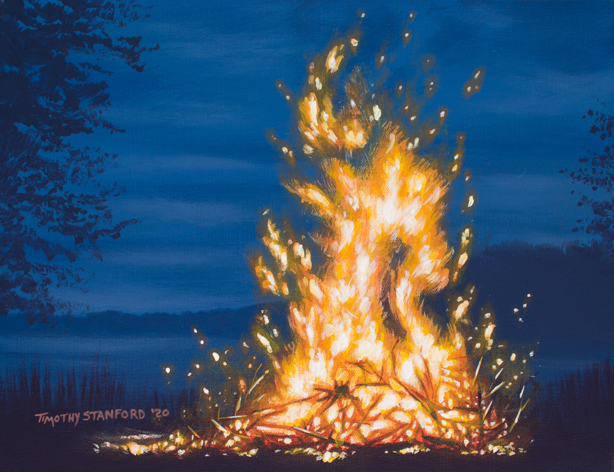 Acrylic landscape painting of a roaring bonfire
