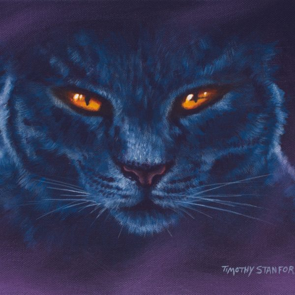 Acrylic animal painting of a black cat with orange eyes